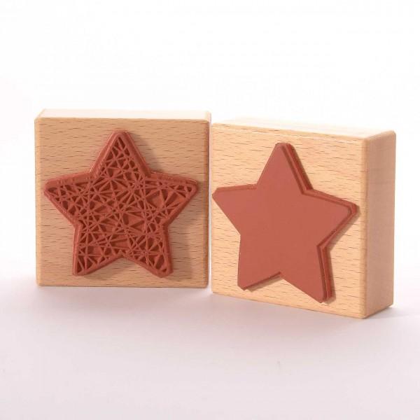 Motivstempel Titel: Eingewickelter Stern und Fläche
