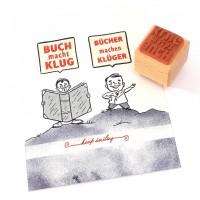 Motivstempel Titel: Buch macht klug · Bücher machen klüger