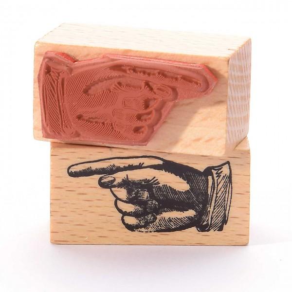 Motivstempel Titel: Hand zeigt nach links
