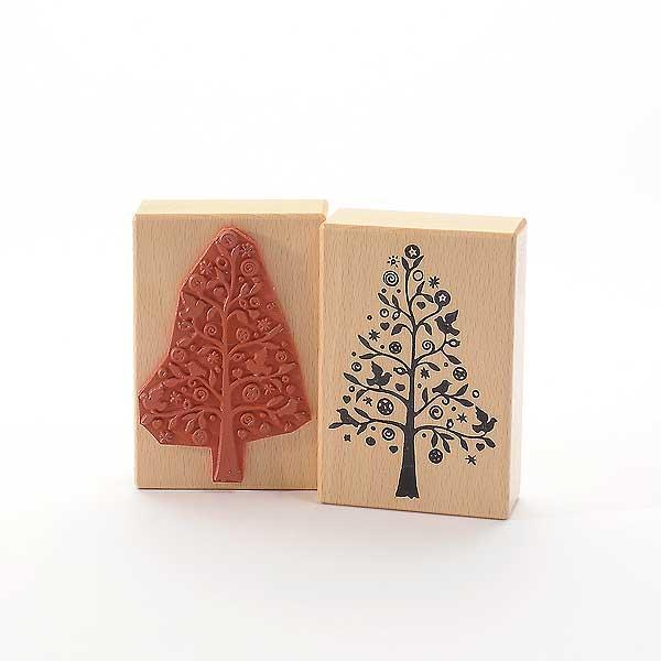 Motivstempel Titel: Weihnachtlicher Baum mit Vögel