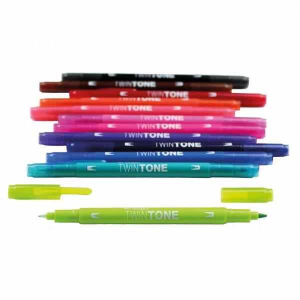 Tombow TwinTone · Grundfarben · Fasermaler mit zwei Spitzen