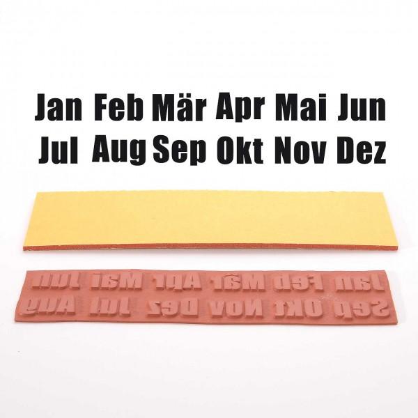 Set Stempelgummi: Alle Monate - Jan, Feb, Mär, Apr, Mai, Jun, Jul, Aug, Sep, Okt, Nov, Dez