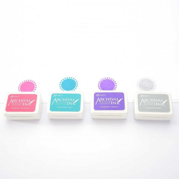 4 Mini-Stempelkissen - Set 4 Pink, Türkis, Violett, Grau