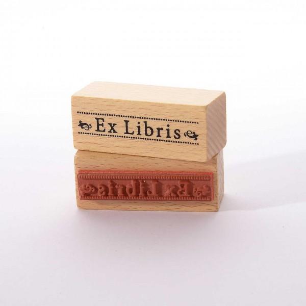 Motivstempel Titel: Ex Libris mit Pünktchenlinie